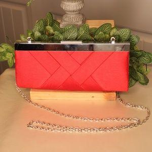 Handbags - Vibrant Red Satin Clutch Purse w/SIlver Chain